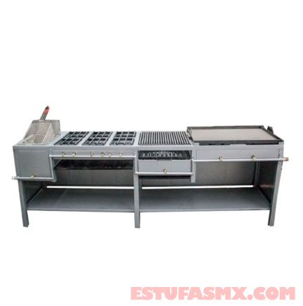 Estufa industrial Multiple Asador Y Plancha Con Freidora, 6 Hornillas para negocios y comercios