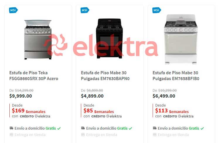 precio y ofertas en estufas y parrillas Elektra